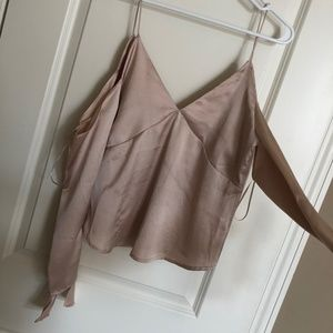 nasty gal satin long sleeve top (never worn)